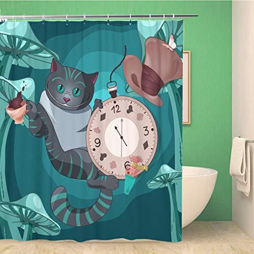 Awowee Decor Duschvorhang Grinsekatze auf Wonderland Cap Teetasche Uhr 180 x 180 cm Polyester Stoff wasserdicht Badvorhänge Set mit Haken für Badezimmer