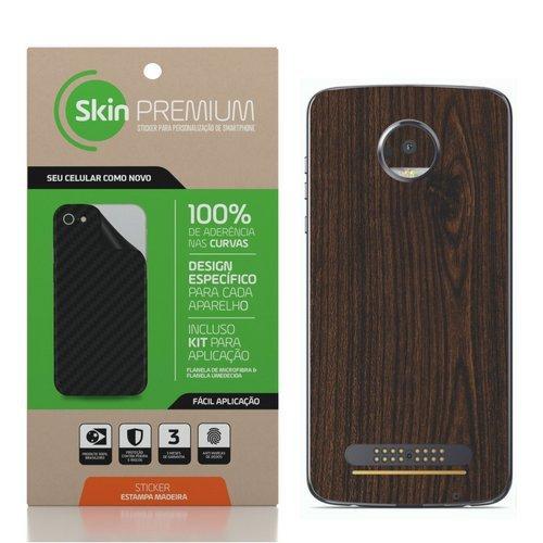 Skin - Premium - Estampa de Madeira Motorola Moto Z2 Play (madeira escura)
