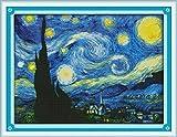 Maydear Kreuzstich-Set mit Prägung, komplettes Sortiment an Kreuzstich-Starter-Sets für Anfänger, 14 CT, 2 Stränge – Sternennacht von Van Gogh 46 x 35 cm