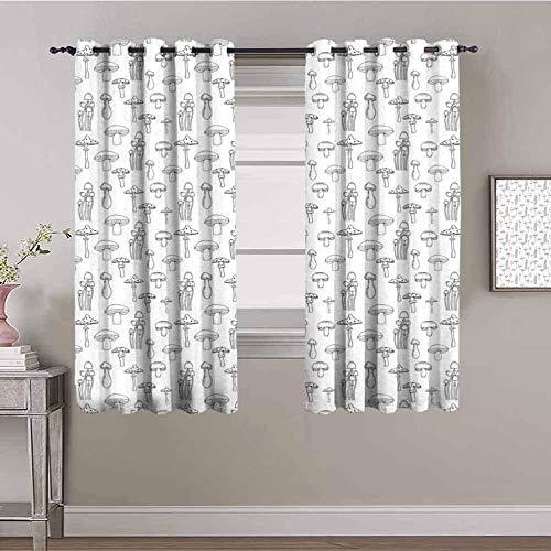 ZLYYH tende finestra cucina Cucina grigio fungo art WxH:229x274cm(114x274cm x2 pannelli) Tenda oscurante con isolamento termico, per camera da letto, soggiorno, 2 pannelli decorazione per cameretta d