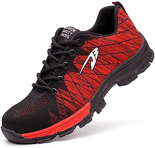 Zapatos de Seguridad Hombre Mujer Zapatillas de Seguridad con Punta de Acero Zapatos de Trabajo Transpirables e Industriales, Rojo 47