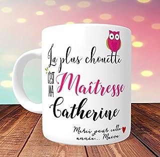 Mug La plus chouette Maîtresse à personnaliser - Idée Cadeau pour la maitresse d'école - Mug chouette maman