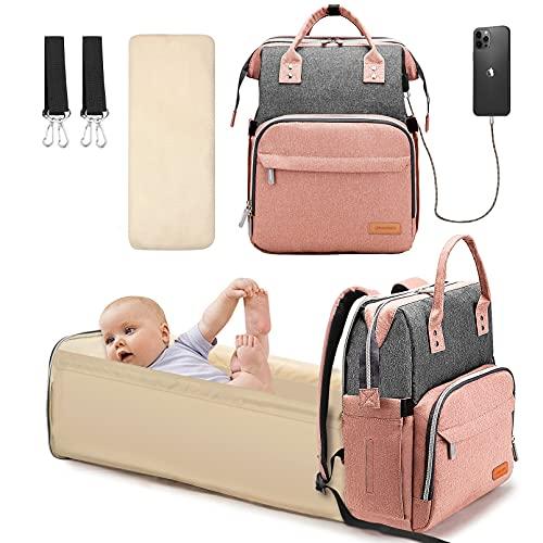 Yoofoss Mochila Pañales para bebes Mochila Cuna Portátil Bolsos cambiadores Gran Capacidad Mochila Bebe Pañales con un Puerto de Carga USB Gris y rosa
