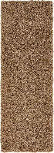 Unique Loom Solo Solid Shag Collection - Alfombra de Felpa Moderna (70 x 200), Color marrón