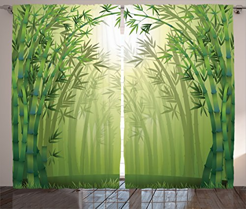"""Ambesonne Bamboo Curtains, Image of Bamboo Trees in Rain Forest Far Eastern Wildlife Tropical Nature Inspired Style, Living Room Bedroom Window Drapes 2 Panel Set, 108"""" X 90"""", Green"""