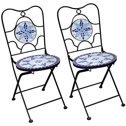 Deuba Neptun Mosaic Chairs Set of 2 Folding Seat Height 45 cm Metal Stable Mosaic Balcony Chair Folding Chair
