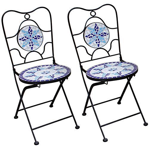 Deuba Mosaikstühle Neptun 2er Set Klappbar Sitzhöhe 45cm Metall Stabil Mosaik Balkonstuhl Gartenstuhl Klappstuhl