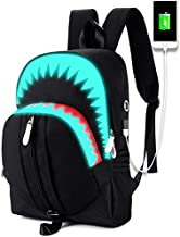 School Backpack College Bookbag for Laptop Back Bag Travel Rucksack Daypack for Boys Girls Men Women (Luminous Shark - Black)