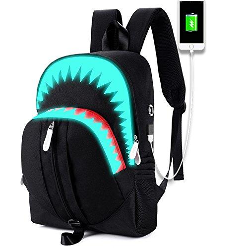 School Backpack College Bookbag for Laptop Back Bag Travel Rucksack Daypack for Boys Girls Men Women (Luminous Shark - Black)