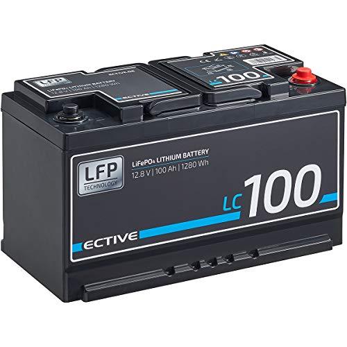 ECTIVE LC100 12V 100Ah 1280 Wh LiFePo4 Lithium-Eisenphosphat Versorgungs-Batterie in DIN-Größe mit BMS