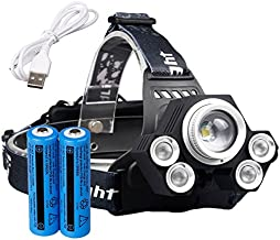 Garberiel 5000 Lumens 5 Modes LED Headlamp Black Waterproof Light Weight Adjustable Head lamp with Battery and Charger