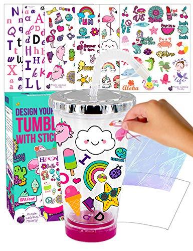 Purple Ladybug CREA tu Propio Vaso Personalizado con Pegatinas Impermeables - Vaso...