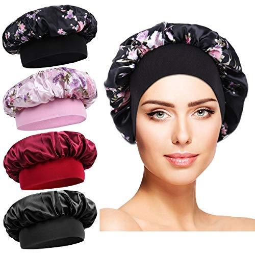 Satin Schlafmütze Damen - 4 Stück Schlafhaube Seide Elastic Wide Band Hut Nachtschlaf Kopfbedeckung für Mädchen Schlaf Haarpflege