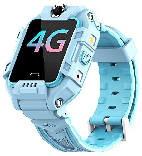 XWZ Reloj Inteligente para Niños Pulsera Inteligente 4G LTE SIM Posición GPS Girar Cámaras Duales Videollamada Reloj Inteligente para Niños Rastreador De Actividad Física,Azul