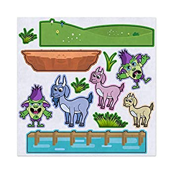 3 Billy Goats Gruff Troll Bridge Felt Play Art Set Flannel Board Story Storyboard Pieces