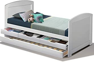 Artiss Single Wooden Trundle Bed Frame Timber Kids Adults (WBED-D-T3-92-AB)