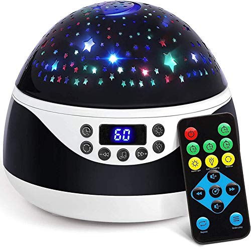 Stars Night Light Projector with Timer & Music, Remote Control Projection Lamp for Kids, Rotating Kids Night Lights for Bedroom, Sleep Helper and Gift Choice for Babies Girls Boys (Black)