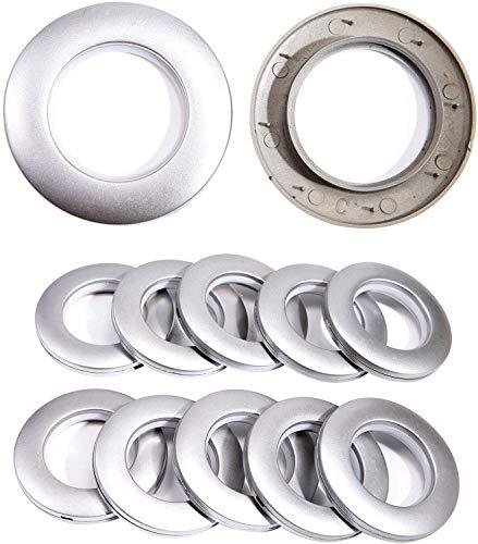 CENGOOD Curtain Grommets Inner Diameter 1-9/16(4cm) Plastic Silencer Sliding Matte Silver Pack of 16