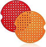 Almohadilla de freidora de Aire, 2 PZS Redondos Reutilizables 9 inch Alfombrillas de Silicona Orificios Antiadherentes Resistentes Calor para Freidora Olla Vapor Horno