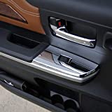 Justautotrim 2PCS Chrome Interior Rear Door Window Switch Panel Cover Trim for Toyota Tundra Crew Cab 2014 2015 2016 2017 2018 2019