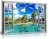 Décoration murale effet fenêtre s'ouvrant sur une plage des Caraïbes - Imprimé en trompe l'œil effet 3D, A0 91x61cm (36x24in)
