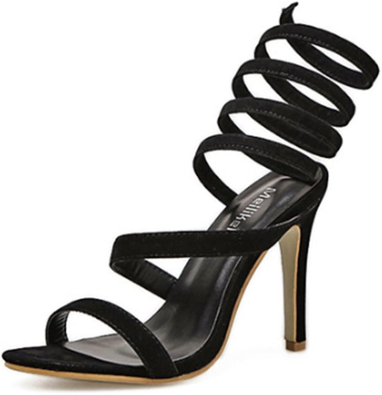 Womens Open Toe Coil Spiral Leg Wrap Strappy Stiletto High Heel Pump Sandals