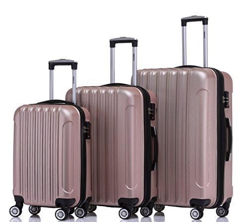 BEIBYE TSA Schloß 2050 Hartschale Trolley Koffer Reisekoffer in M-L-XL-Set (Rosa Gold, Set)