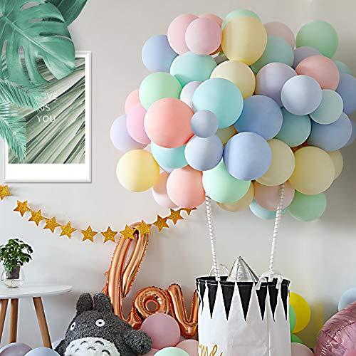 Kesote 120 Globos Látex Pastel Globos Macaron Pastel Helio para Decoración Cumpleaños Fiestas Boda San Valentín (11 Colores, 10 Pulgadas)