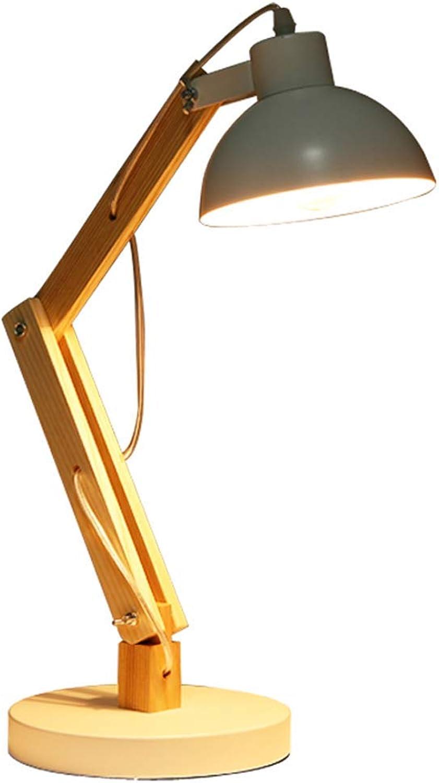 SGWH Nachttischlampe, einziehbares Holz Schreibtischlampe Nachttisch Schmiedeeisen Holztischlampe Nordic Schlafzimmer Arbeitszimmer Lesetisch Lampe E27 Lampenfassung