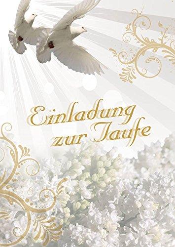 Einladungskarten Taufe für Junge und Mädchen mit Innentext Motiv weiße Tauben 25 Klappkarten DIN A6 mit weißen Umschlägen im Set Taufekarten mit Kuvert Einladung Taufe Mädchen Junge (K24)