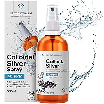 Premium Colloidal Silver Spray 40 PPM 100mL ● 100% Natural ● Superior Concentration, Smaller Particles = Better Results ● Certified by 3 Independent Laboratories ● Choose a Specialist ● Katharos