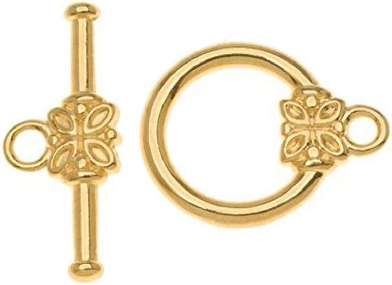 Cheap mail order shopping 10 sets Gold Plated 2021 new 925 Sterling Silver Toggle Clasps 15m Flower