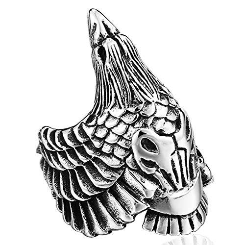 Serired Anillo Vikingo Cuervo de Odin de Acero Inoxidable para Hombre, Unisex Nórdico Paganos Animal Pájaro Cuervo Personalizar Amuleto Joyería,Plata,11