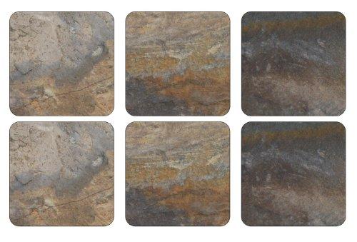 Pimpernel 10,5 x 10,5 cm avec Dos en liège Terre/Ardoise-Dessous-de-Verre-Set de 6