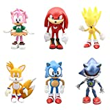 Gumair Set of 6pcsSonic The Hedgehog Action FiguresClassic Sonic, Amy, Super Sonic, Tails, Metal Sonic, and Knuckles Cake Toppers , Children's toys 2-3 inches