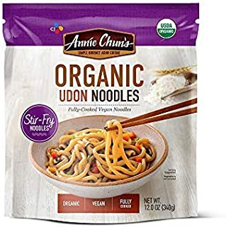 Annie Chun's Organic Stir-Fry Noodles, Udon | Fully-Cooked, Vegan, 12-oz (Pack of 6) | Good for Soup, Teriyaki and Vegetable Dishes