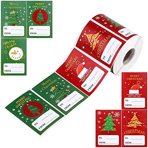 Pegatinas de regalo, 500 piezas Etiqueta autoadhesiva de Navidad muñeco de nieve, campana, guirnalda, árbol de Navidad...