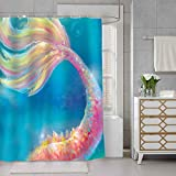 SDDSER Mermaid Tail Shower Curtain Pink Fish Scales on an Unreal Blue Background Decor Bathroom Curtain for Kids, Waterproof Fabric 72X72 with 12 Hooks YLQQSD171