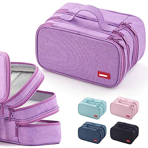 Pennenetui voor tienermeisjes, etui met 3 vakken, grote capaciteit, voor school en kantoor (violet)