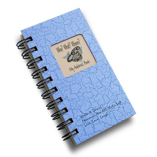 Who? What? Where? - My Address Book - MINI Lt Blue Hard Cover (prompts on every page, recycled paper, read more...)