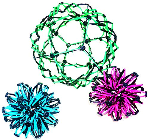 4E's Novelty 3 Expandable Breathing Ball Sphere Toy (3 Pack) Expanding Stress Relief Breathing Ball Toys for Kids & Adults - for Anxiety, Yoga, Deep Breathing, ADHD - Neon Blue, Pink, & Green