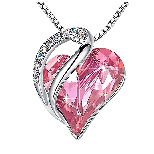 haoricu Love Heart Pendant Necklace with Birthstone Crystals, Jewelry Gifts for Women Birthday/Anniversary Day/Party Pink