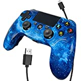 Wireless Controller for PS4, Blue Galaxy Style Dual Vibration High Performance Gaming Controller for PlayStation 4/Pro/Slim/PC with Audio Function, Mini LED Indicator, USB Cable