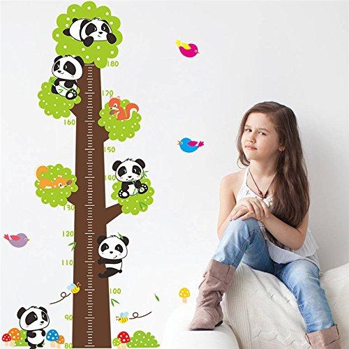 Mznm Panda vogels hoogte meten muur sticker voor kinderen kamer groeidiagram Home Decor dieren muur stickers muurschildering kunst Pvc cartoon poster