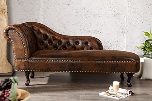 Casa Padrino Chesterfield Chaise Longue/Lounge Chair Antique