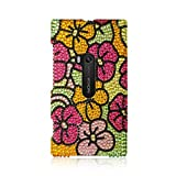 Insten Hawaii Flower Rhinestone Diamond Bling Hard Snap-in Case Cover Compatible with Nokia Lumia 920, Colorful