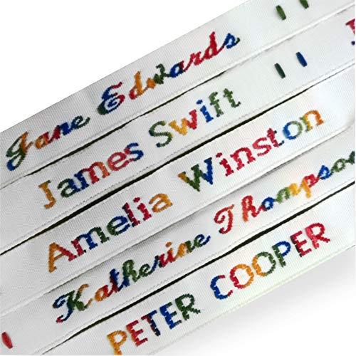 Nastro di tessuto per etichette e cartellini, per uniforme scolastica e case di riposo. Nome, colore e stile personalizzabili Black/Blue/Green/Multicolour/Pink/Red/White