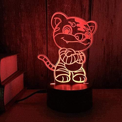 APXZC Zodiac Tiger 3D Illusion Night Light 16 Cambio de Color Regulable Carga USB Iluminación de Escritorio Oficina Dormitorio Sala de Estar Decoración del hogar y decoración remota