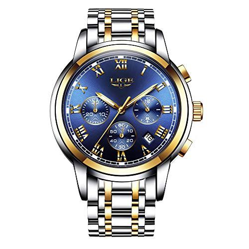 LIGE Herren Uhren Chronograph Wasserdicht Analog Quarzuhr Edelstahl Mode Kleid Business Uhr für Männer