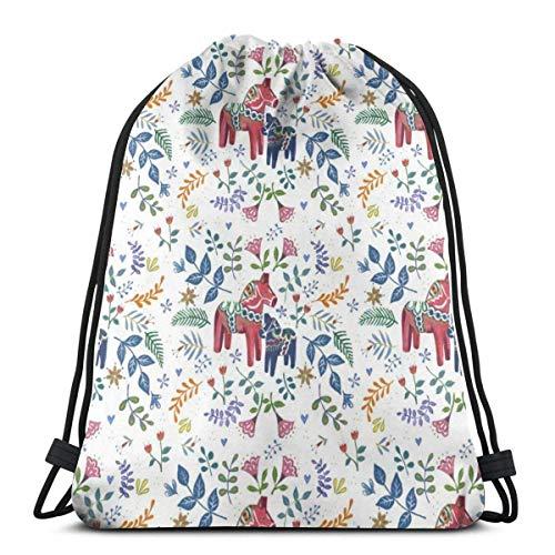 Kordelzug Rucksack schwedische süße Pferd Leinwand Bulk Sackpack für Männer Frauen String Sports Gym Bag